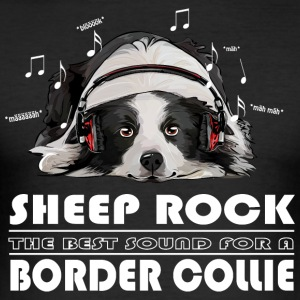 BORDER COLLIE SHEEP ROCK - Men's Slim Fit T-Shirt