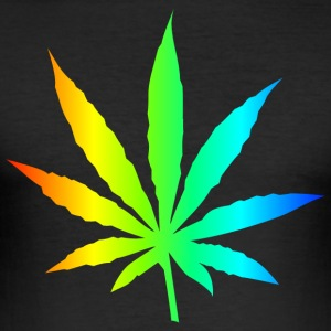 Marijuana Leaf Rainbow - Men's Slim Fit T-Shirt