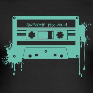 RETRO CASSETTE in turquoise - Men's Slim Fit T-Shirt
