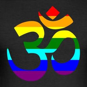 Rainbow Om sign - Men's Slim Fit T-Shirt