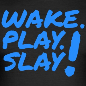 Wake, Play, Slay. Blå. - Herre Slim Fit T-Shirt