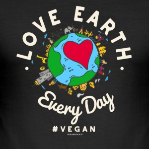 Love Earth Every Day #vegan Tshirt (Earth Day) - Männer Slim Fit T-Shirt