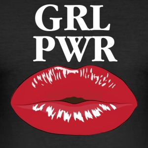 GRL PWR Girl Power Kiss T-Shirt - Männer Slim Fit T-Shirt