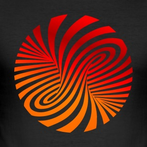 psychedelic optical type swirl orange 70s style fu - Men's Slim Fit T-Shirt