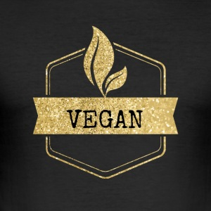 Golden Vegan vegetarer Design - Herre Slim Fit T-Shirt