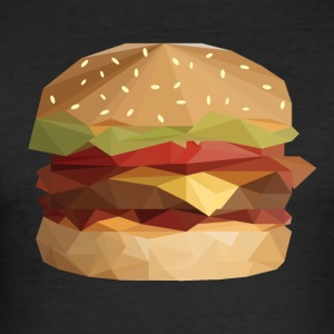 Låg Poly Burger - Slim Fit T-shirt herr