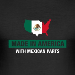 Made In America With Mexican Parts Mexico Flag - Men's Slim Fit T-Shirt