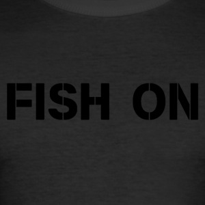 fish on black writing - Men's Slim Fit T-Shirt