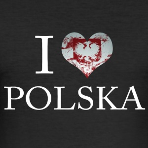 POLSKA I LOVE FLAG - Herre Slim Fit T-Shirt