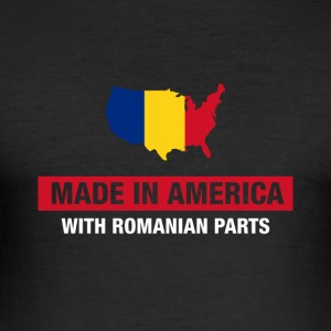 Made In America With Romanian Parts Romania Flag - Men's Slim Fit T-Shirt