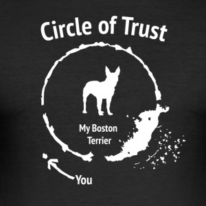 Funny Boston Terrier Shirt - Circle of Trust - Herre Slim Fit T-Shirt