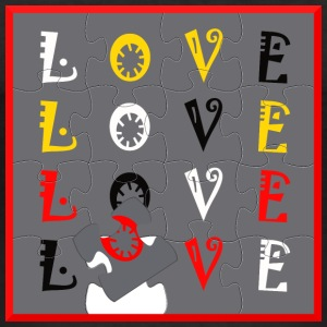 LOVE Puzzle - Slim Fit T-skjorte for menn