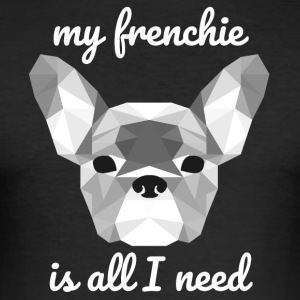 Low Poly Frenchie wit - slim fit T-shirt