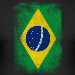 Brazil Flag Proud Brazilian Vintage Distressed - Slim Fit T-shirt herr