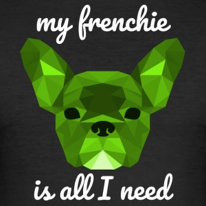 Low Poly Frenchie green - Men's Slim Fit T-Shirt