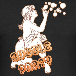BUBBLE PARTY MIT SEXY GIRL FIRE - Männer Slim Fit T-Shirt