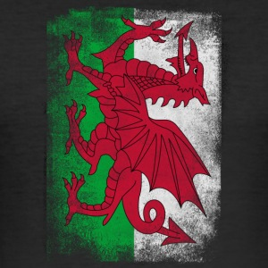 Wales Flag Proud Welsh Vintage Distressed Hemd - Männer Slim Fit T-Shirt