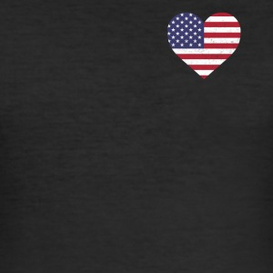 USA Flag Shirt Heart - American Shirt - Slim Fit T-shirt herr
