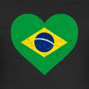Brasilien Flag Shirt Heart - brasiliansk Shirt - Herre Slim Fit T-Shirt
