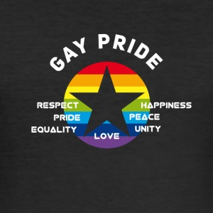 Gay Pride Respekt Unity Love Peace lighed CSD lo - Herre Slim Fit T-Shirt