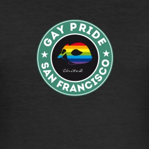 Gay San Francisco rakett regnbue etiketten maske pr - Slim Fit T-skjorte for menn