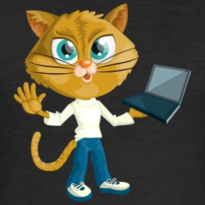 Katt med laptop - Slim Fit T-shirt herr