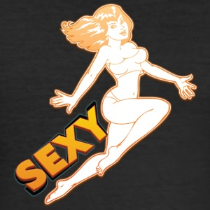sexy hopping pin up girl - Slim Fit T-skjorte for menn
