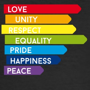gay Love Unity Respect Pride happy rainbow colorful - Men's Slim Fit T-Shirt