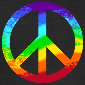 Peace sign Pace Peace Rainbow Grunge colorful - Men's Slim Fit T-Shirt