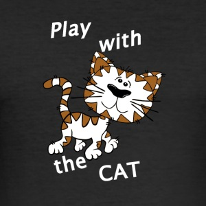 Play_Cat_Wei--2 - Männer Slim Fit T-Shirt