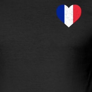 France Flag Shirt Heart - French Shirt - Men's Slim Fit T-Shirt