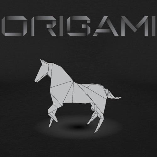 origami cheval noir.png - T-shirt près du corps Homme