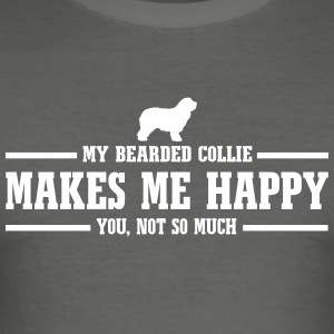 Bearded Collie gör mig glad - Slim Fit T-shirt herr