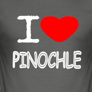 I LOVE Pinochle - Herre Slim Fit T-Shirt