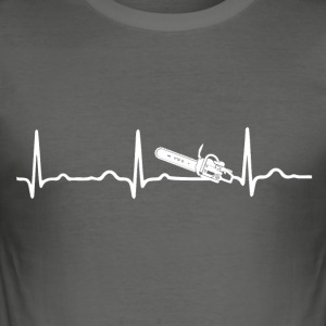ECG HEARTBEAT CHAINSAW wit - slim fit T-shirt