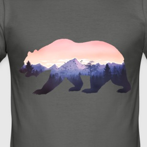 bear grizzly wild mountains rocky cool nature forest fun - Men's Slim Fit T-Shirt