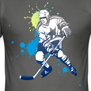 hockey splatter hockey player puck attack cool - Men's Slim Fit T-Shirt