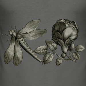 Dragonfly and Flower - slim fit T-shirt