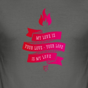My Love Is Your Love ribbon love pink vintage flam - Men's Slim Fit T-Shirt