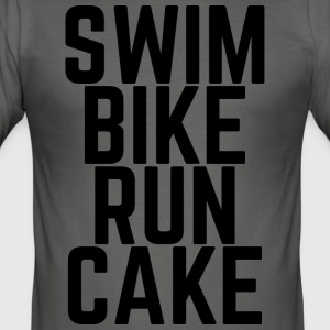 Swim Bike Run gâteau! - Tee shirt près du corps Homme