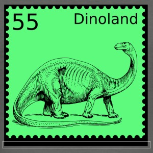 Dinoland Briefmarke - Männer Slim Fit T-Shirt
