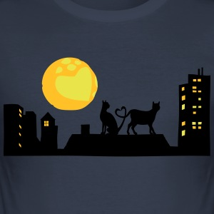 Cats in love at night - Men's Slim Fit T-Shirt