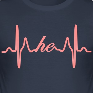 Han heartbeat EKG - Slim Fit T-shirt herr