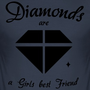 Diamanter er en Girls Best Friend - Slim Fit T-skjorte for menn