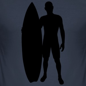 Surfer med surfebrett - Slim Fit T-skjorte for menn