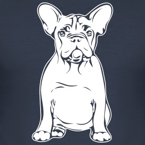 Fransk Bulldog - Fransk Bulldog sitte - Slim Fit T-skjorte for menn