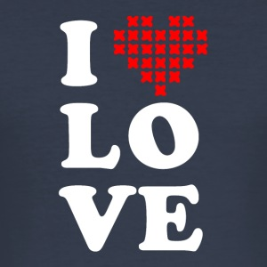 I love cross stitch - Männer Slim Fit T-Shirt