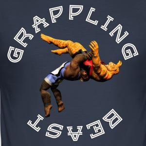 Grappling Beast (aap vs jaguar) - slim fit T-shirt