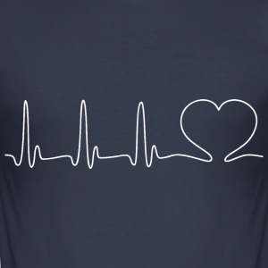 EKG HEART hvid - Herre Slim Fit T-Shirt
