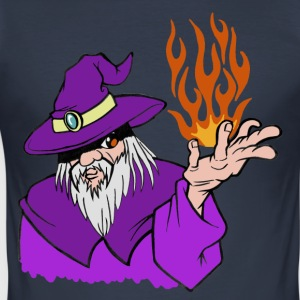 Willpower Wizard Purple/Red/Orange Flame - No Text - slim fit T-shirt